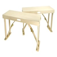 Portable Folding Bench in Natural Birch Finish - Set of 2