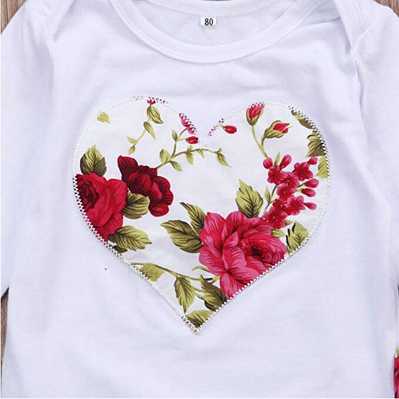 5e36ab9c5f9b Gaono - Baby Girl Floral Heart Peach Clothes Romper Jumpsuit Long ...