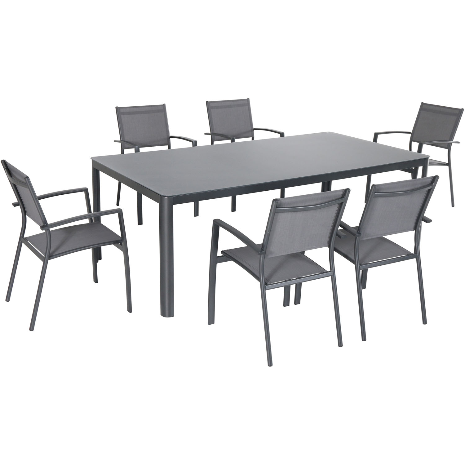 "Hanover Fresno 7-Piece Outdoor Dining Set with 6 Sling Arm Chairs and a 42"" x 83"" Glass-Top Table"