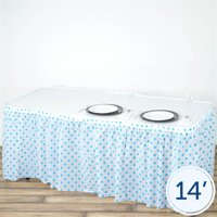 "BalsaCircle 14 feet x 29"" Plastic Polka Dots Banquet Table Skirt - Wedding Party Trade Show Booth Events Linens Decorations"