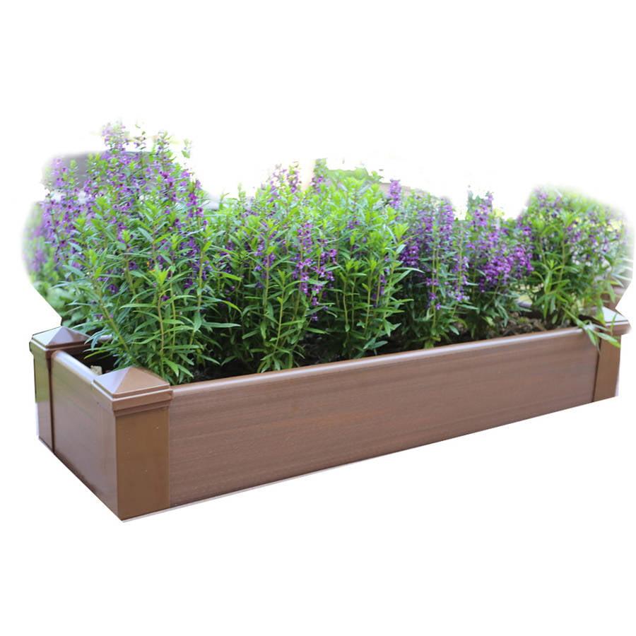 NewTechWood Composite Lumber Patio Raised Garden Bed Kit, Peruvian Teak by NewTechWood