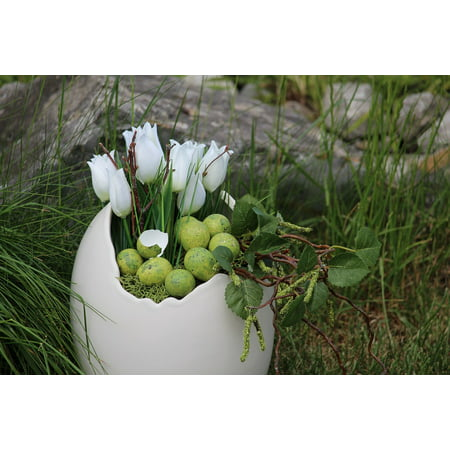 Canvas Print Spring Easter Deco Happy Easter Decoration Stretched Canvas 10 x 14