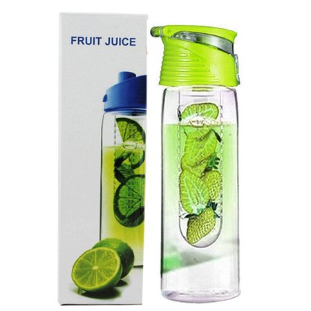 Holiday Clearance 800 Milliliter Fruit Infusing Water Bottle with Fruit Infuser and Flip Lid Lemon Juice Make Bottle (Filter Fruit Water Bottle)