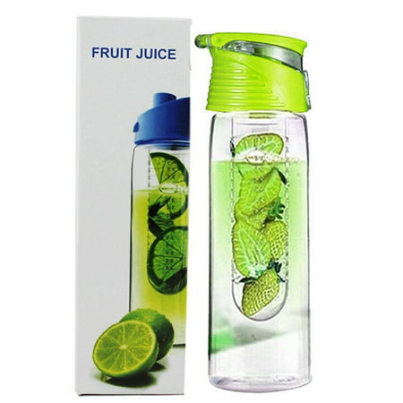 Holiday Clearance 800 Milliliter Fruit Infusing Water Bottle with Fruit Infuser and Flip Lid Lemon Juice Make