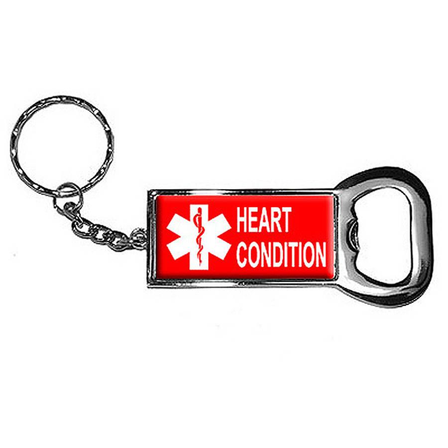 Heart Condition Keychain Key Chain Ring Bottle Bottlecap Opener