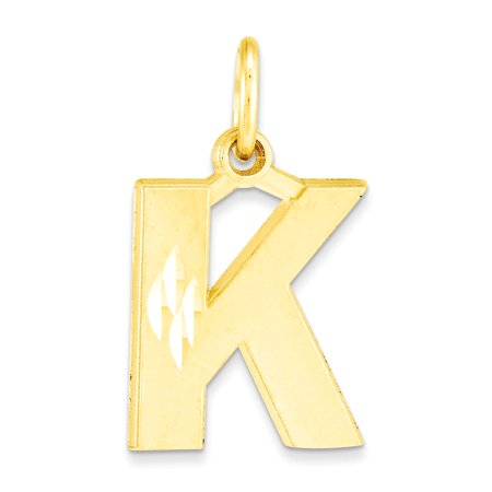 10k Rectangle Charms - 10k Yellow Gold Initial K Charm