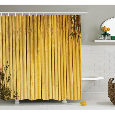 Bamboo Decor Shower Curtain Set, Tall Bamboo Stems And Leaves Oriental Nature Wood Image Natural Zen Asian Wildlife Home Decor, Bathroom Accessories, 69W X 70L Inches, By Ambesonne (Shower Curtain Tall)