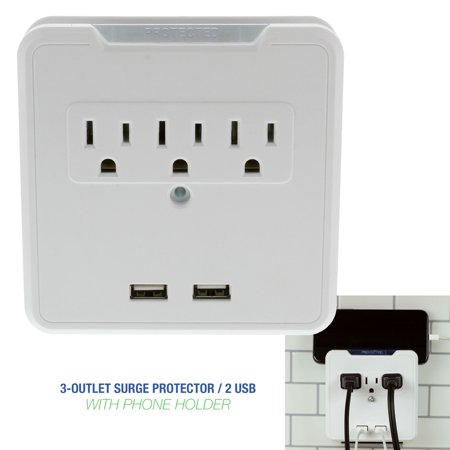 White 3 Outlet, 2 USB, Wall Mount Tap Surge Protector with Cell Phone Dock Design ()