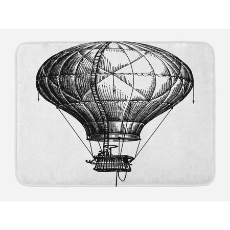 Sketchy Bath Mat, Big Hot Air Balloon in the Sky Vintage Style Travel and Transportation Theme Art, Non-Slip Plush Mat Bathroom Kitchen Laundry Room Decor, 29.5 X 17.5 Inches, Black -