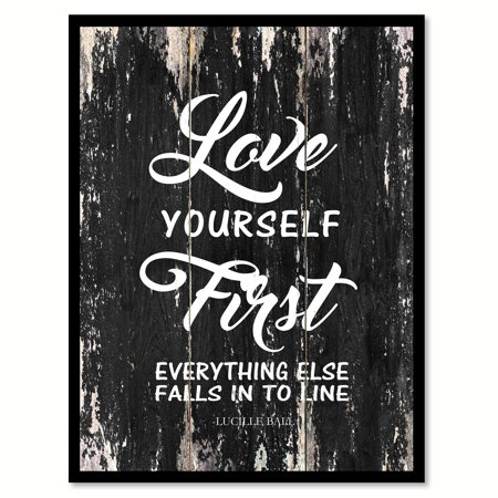 Love Yourself First Everything Else Falls Into Line - Lucille Ball Inspirational Quote Saying Black Canvas Print Picture Frame Home Decor Wall Art Gift Ideas 28