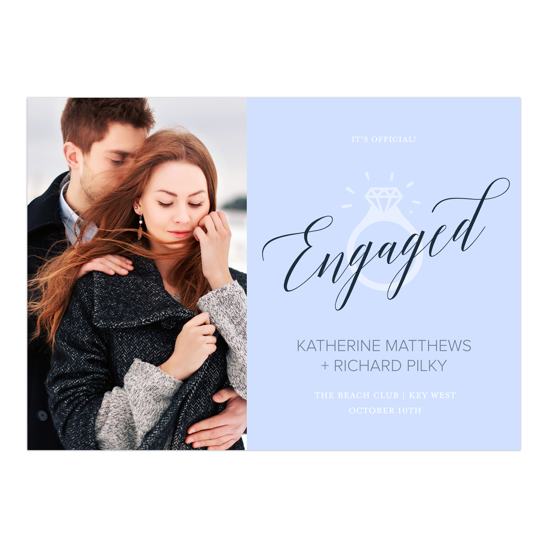 Personalized Wedding Engagement Party Invitation - Engagement Ring - 5 x 7 Flat