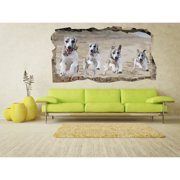 Startonight 3D Mural Wall Art Photo Decor Running Dogs Amazing Dual View Wall Mural Wallpaper for Bedroom Animals Art Large 47.24 '' By 86.61 ''