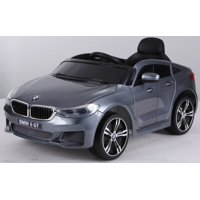 Ride on car BMW 6 GT 12V powered toy For Kids with Remote Control Leather Seat LED lights - Silver