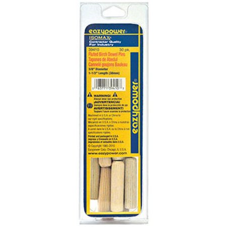 EAZYPOWER 39410 Dowel Pin,Wood,Fluted,PK30