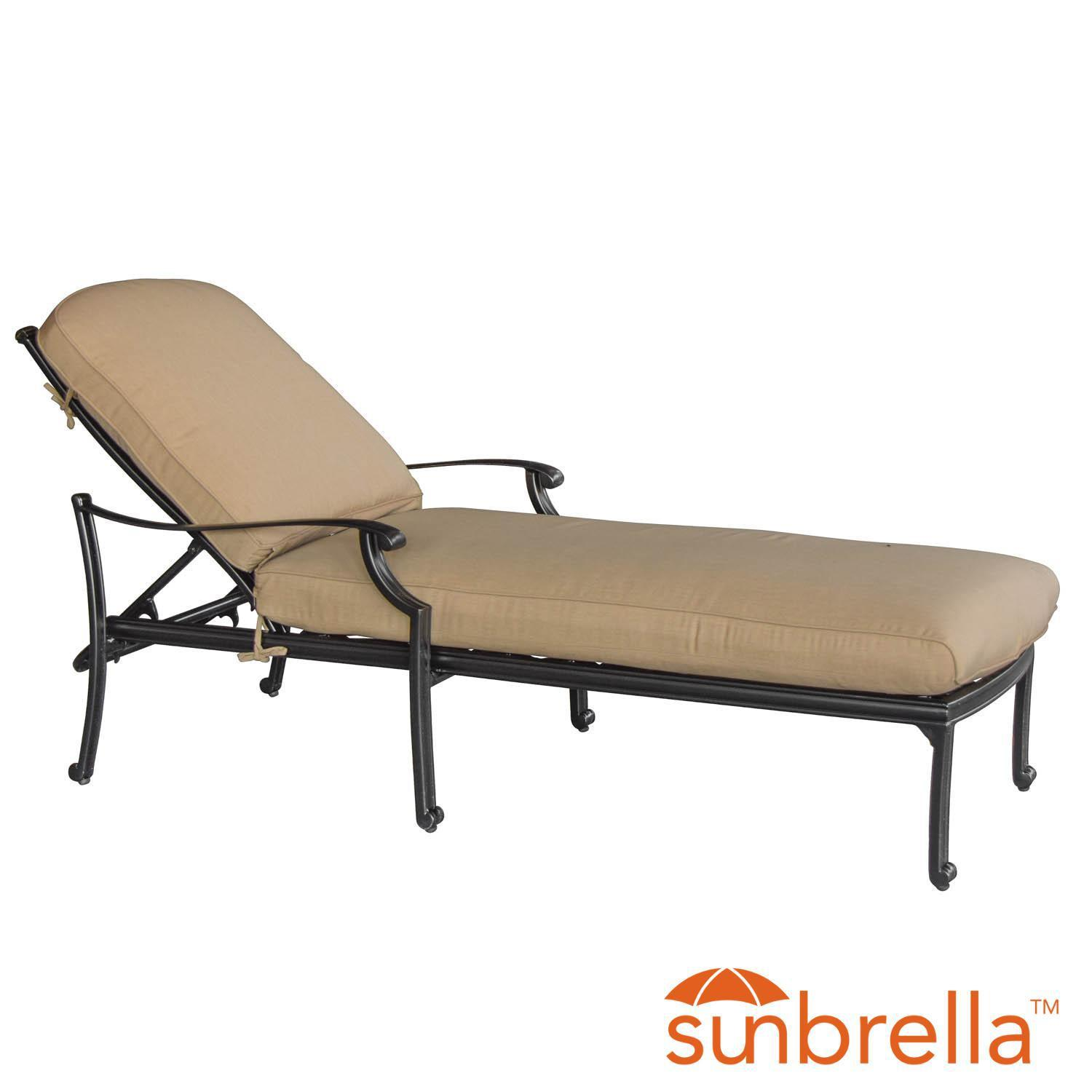 Bocage Cast Aluminum Patio Chaise Lounge W/ Sunbrella Heather Beige Cushion By Lakeview Outdoor Designs