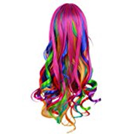 Male Wigs Long Hair (Generic Fashionwu Long Big Wavy Rainbow Wigs Gothic Curly Women Spiral Colorful Hair for Halloween Custom)