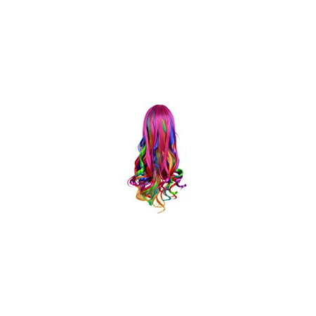 Fashionwu Long Big Wavy Rainbow Wigs Gothic Curly Women Spiral Colorful Hair for Halloween Custom Cosplay - Wigs Colorful
