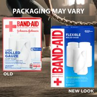 Band Aid Brand First Aid Flexible Rolled Gauze, 4 in x 2.1 yd, 5 ct