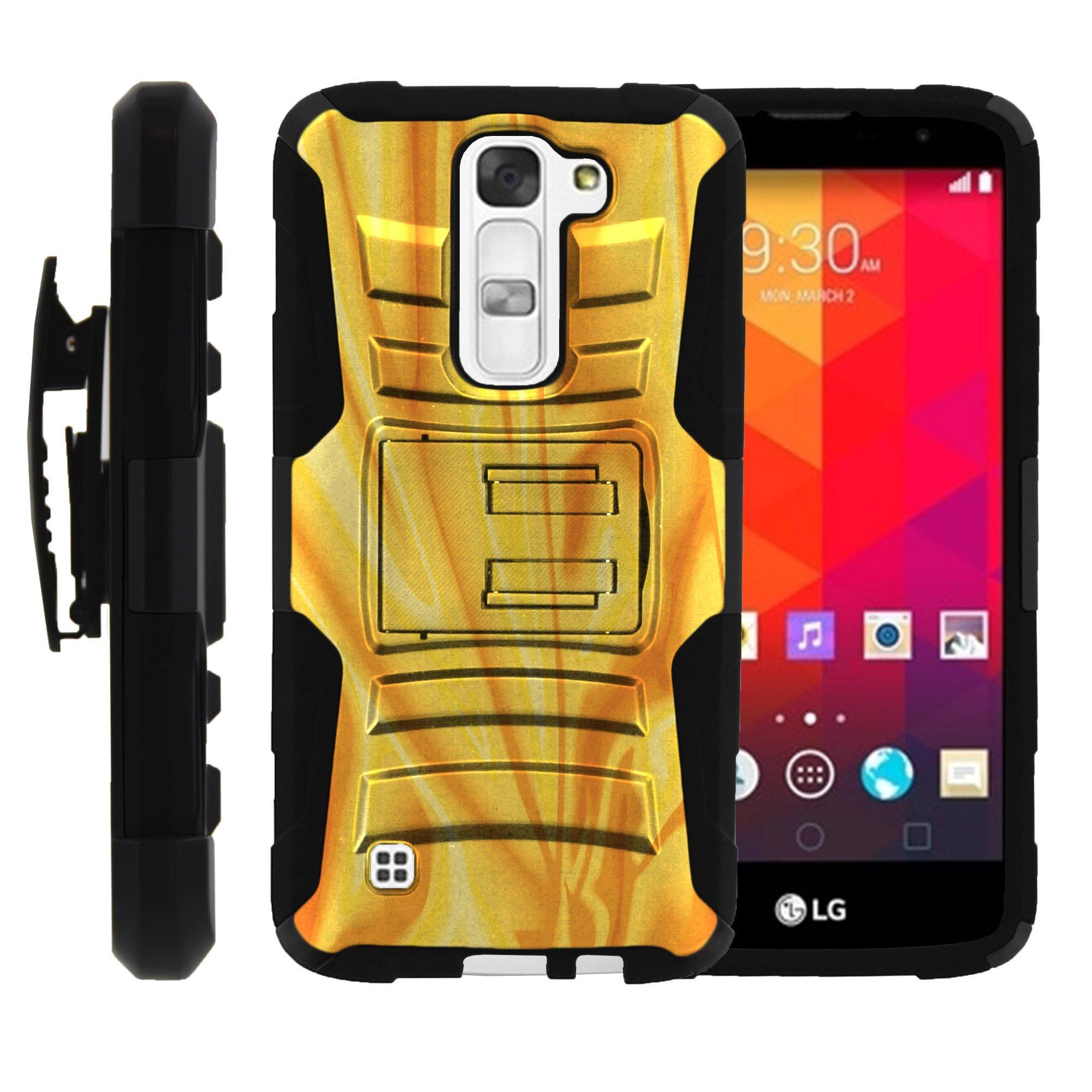 TurtleArmor ® | For LG K7 | LG Tribute 5 | LG Treasure [Hyper Shock] Hybrid Dual Layer Armor Holster Belt Clip Case Kickstand - Army Pink Camouflage