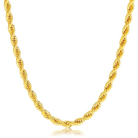 Jewelers 14K Solid Gold 4MM Rope Chain Necklace BOXED Solid Rope Style Necklace