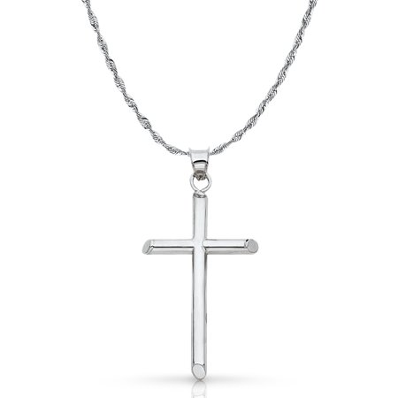 14K White Gold Classic Cross Pendant with 2mm Rope Chain Chain Necklace ()