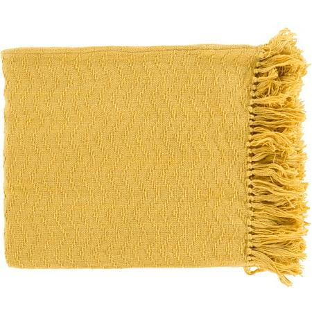 Chevron Fringe - Mustard Yellow Chevron Cotton Fringed Decorative Throw Blanket 50