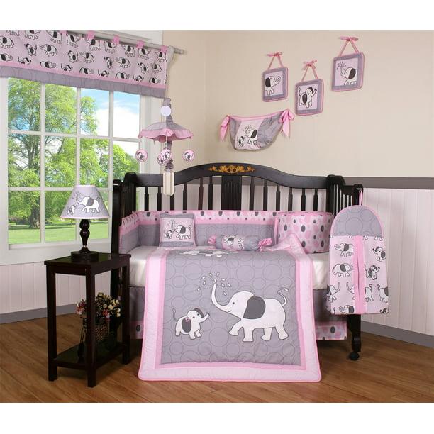 Boutique Baby Pink Gray Elephant 14 Pieces Nursery Crib Bedding