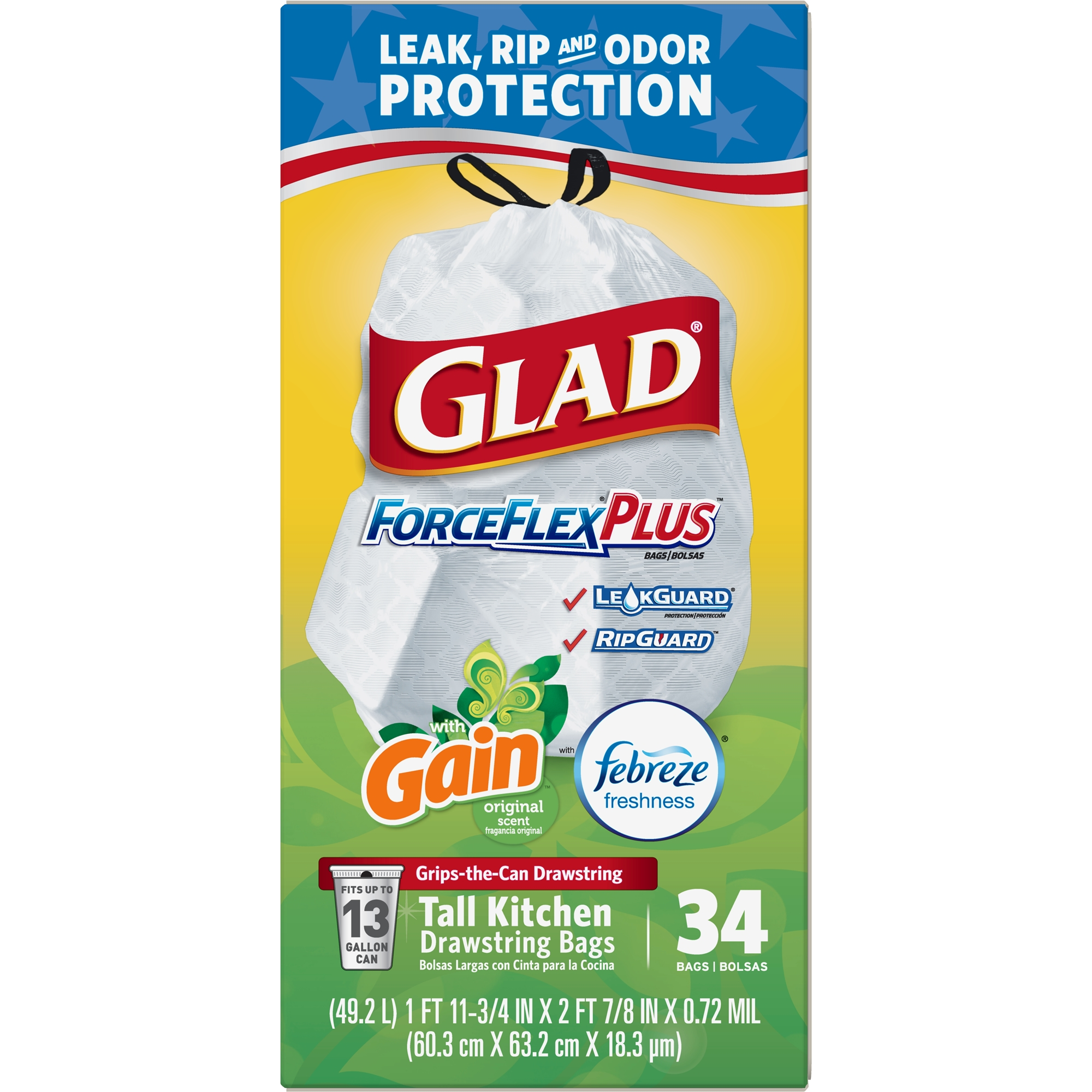 Glad ForceFlexPlus Tall Kitchen Drawstring Trash Bags - Gain Original with Febreze Freshness - 13 Gallon - 34 ct