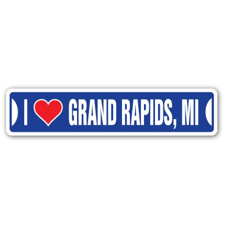 I LOVE GRAND RAPIDS, MICHIGAN Street Sign mi city state us wall road décor gift - Party City Grand Rapids Mi