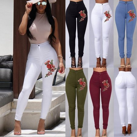 Women High Waist Pencil Pants Stretch Casual Floral Embroidery Skinny Jeans Trousers