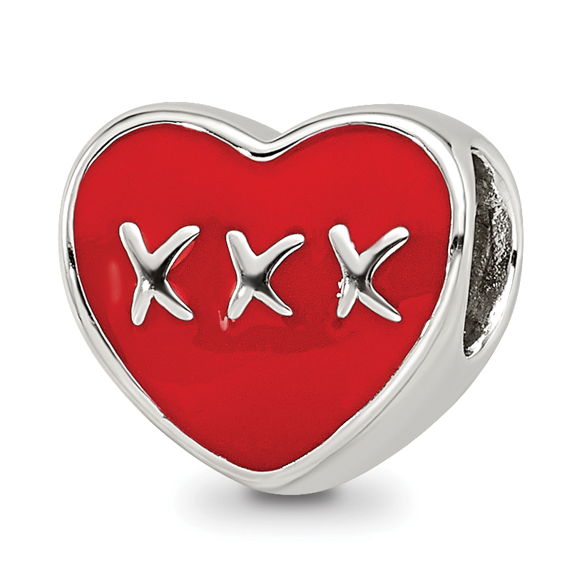 925 Sterling Silver Reflections Red /& White Enamel Heart Bead