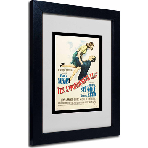 "Trademark Fine Art ""It's a Wonderful Life"" Matted Framed Art by Vintage Apple Collection, Black Frame"