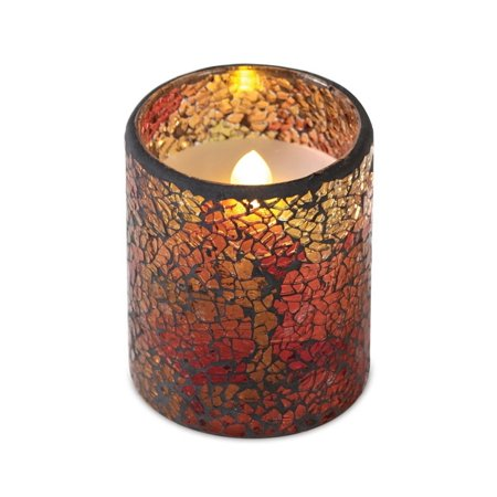 4 Decorative Autumn Gl Mosaic Wax Flameless Led Lighted Pillar Candle