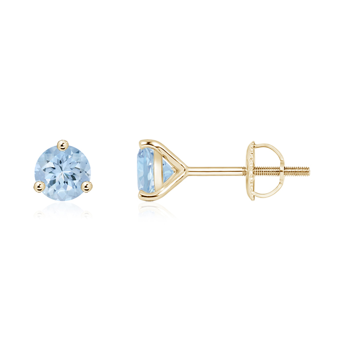 Angara Sqaure Aquamarine Studs in 14k White Gold Wi9960vp