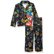 Mario Kart Boys Pajama Coat Top and Lounge Pants 2 Piece Sleepwear Set, Mario_Blue, Size: 10/12