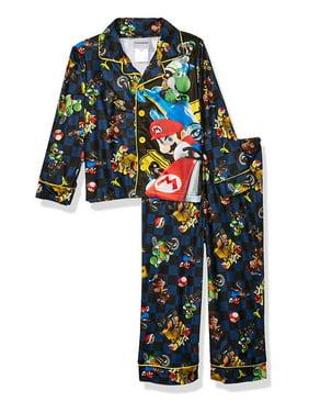 MarioKart 2 piece Boys Coat Top Pajama Set, Mario_Blue, Size: 10/12