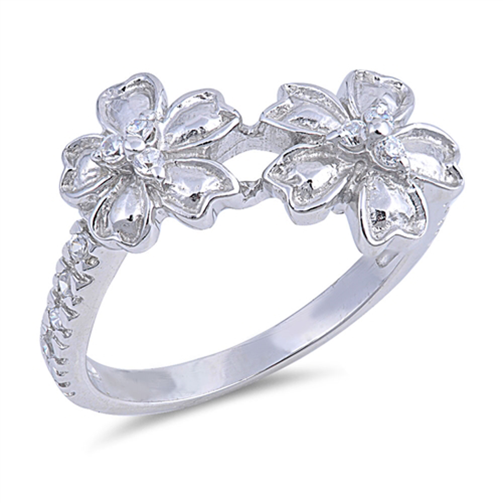 Plumeria Flower Ring New .925 Sterling Silver Band