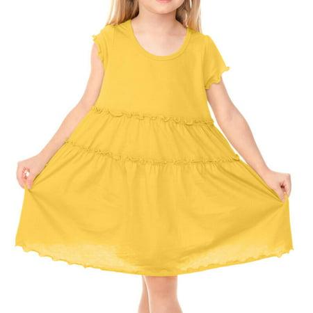Kavio! Little Girls 3-6X Tiered Lettuce Edge Dress Yellow 5/6