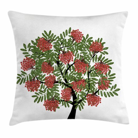 Rowan Throw Pillow Cushion Cover, Rowan Tree Full of Fruits Fresh Organic Ecology Themed Artwork, Decorative Square Accent Pillow Case, 18 X 18 Inches, Olive Green Dark Coral Black, by Ambesonne ()