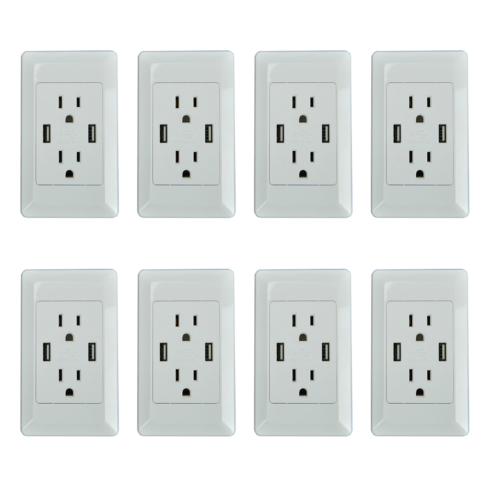 GREENCYCLE 8 Pack 2A Smart Dual USB Charger Wall Plate Outlet Socket 15A AC Power Outlet Charging Receptacle White Adapter (ETL Listed)