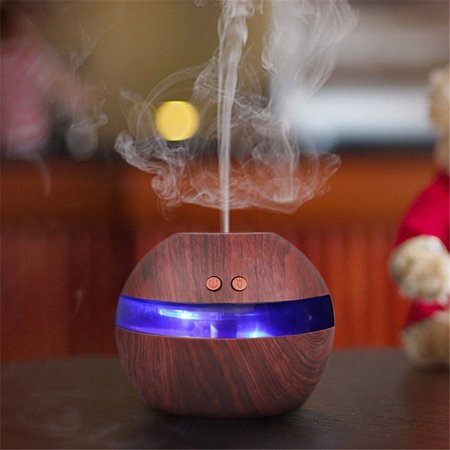 200ml Aroma Essential Oil Diffuser, Wood Grain Ultrasonic Cool Mist Humidifier Air Aromatherapy Atomizer with LED Light for Office Home Bedroom Living Room Study Yoga Spa
