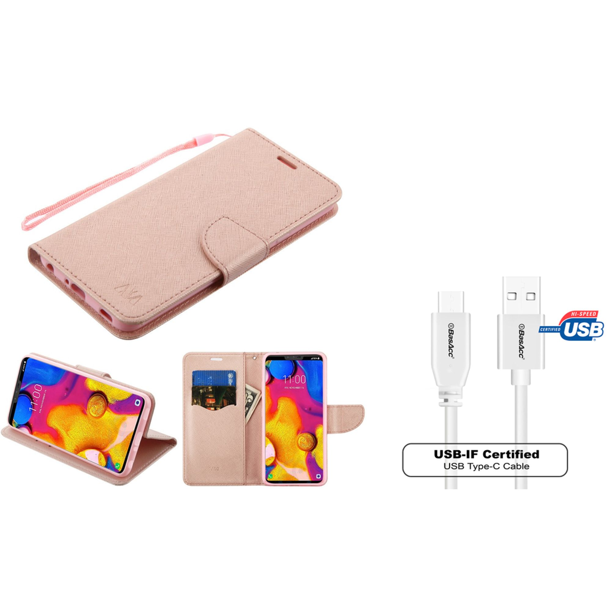 Insten Liner Stand Folio Flip Leather Wallet Flap Pouch Case Cover For LG V40 ThinQ - Rose Gold (Bundle with USB Type C Cable)