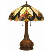 """Chloe Lighting Liaison Tiffany-Style 2-Light Victorian Table Lamp with 18"""" Shade"""