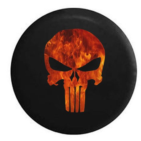 American Patriot Punisher Skull Fire Flames Spare Tire Cover for Jeep RV 31 Inch (Skull Jeep Tire Cover)