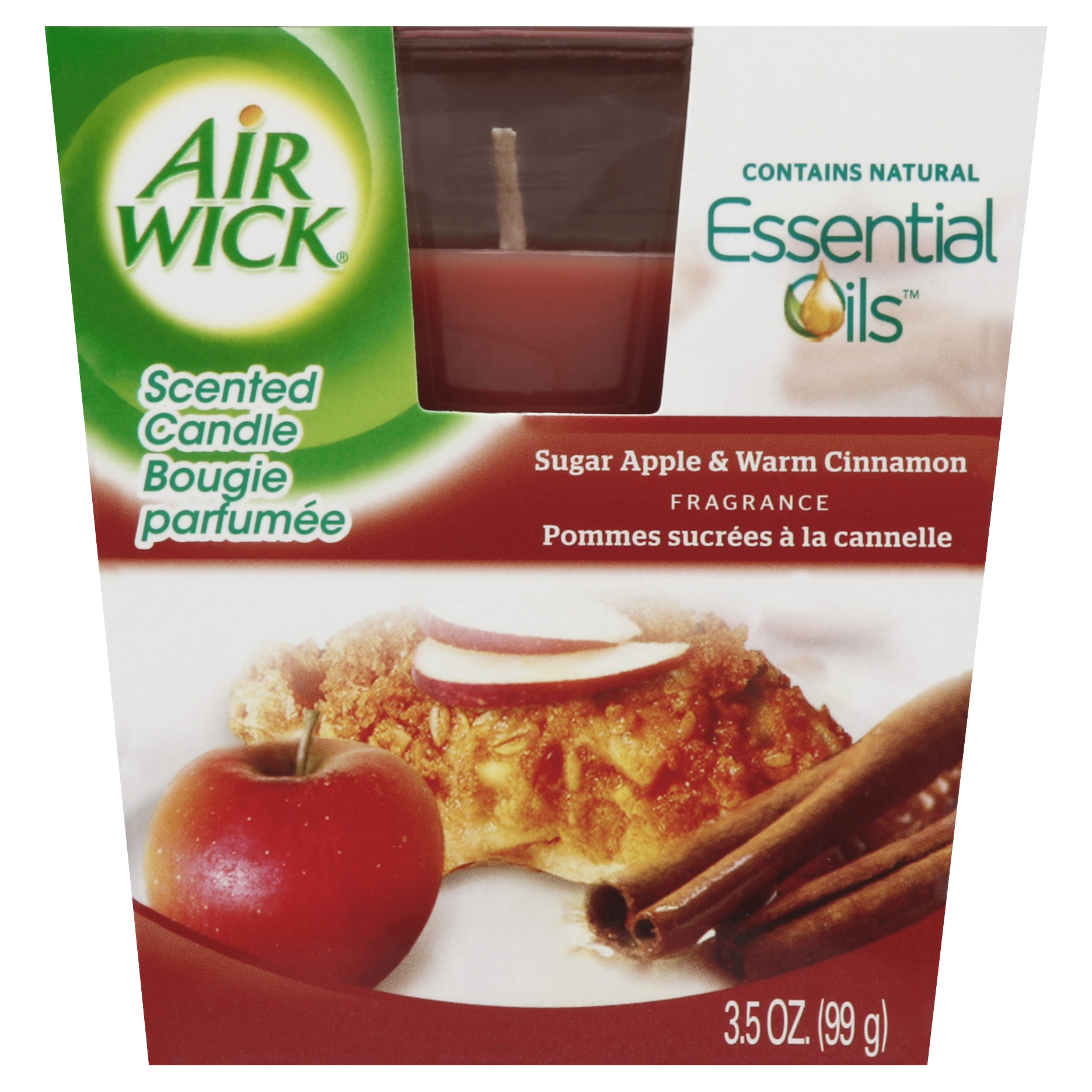 Air Wick Frosted Scented Candle, Apple Cinnamon Medley, 3 Ounce