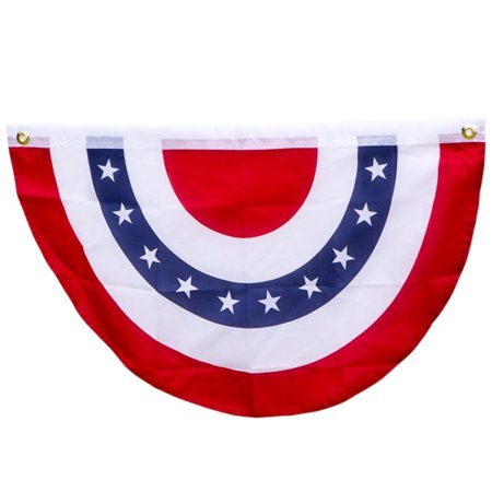 Patriotic 4th of July Bunting Porch 20inx36in Hanging Decoration, Red White - 4th Of July Bunting
