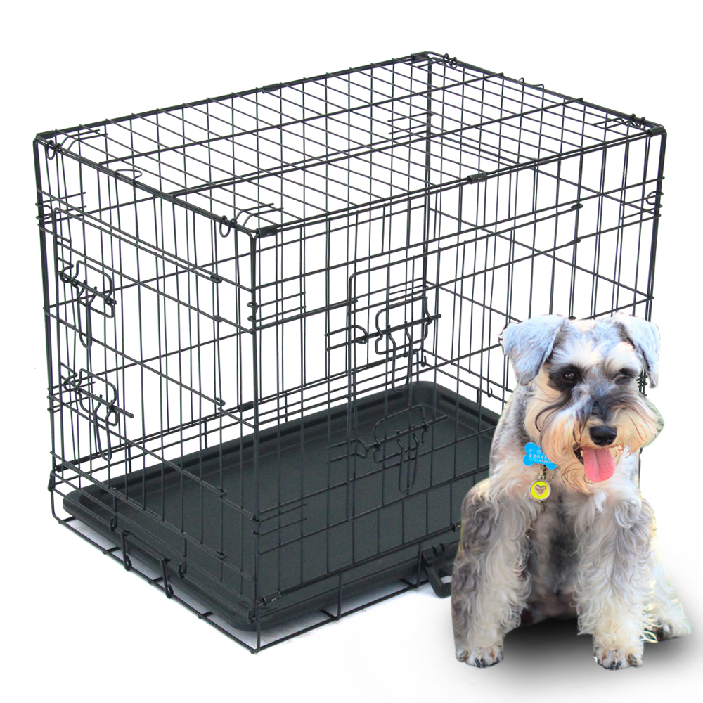 """Zimtown 24""""/30""""/36""""/42""""/48"""" Heavy Duty Foldable Double Door Dog Crate with Divider and Removable ABS Plastic Tray"""