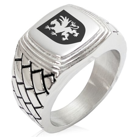 Griffin Coat Of Arms (Stainless Steel Griffin Valor Coat of Arms Shield Geometric Pattern Step-Down Biker Style Polished Ring)