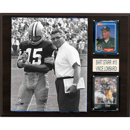 C&I Collectables NFL 12x15 Bart Starr & Vince Lombardi Green Bay Packers Player Plaque