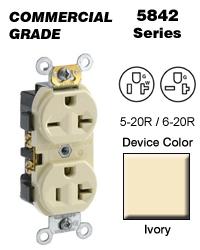 Leviton 5842-I Duplex Receptacle Dual Voltage Commercial Grade 5-20R_6-20R 20A 125 250V... by